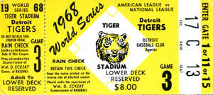 1968 World Series Game 3 Ticket