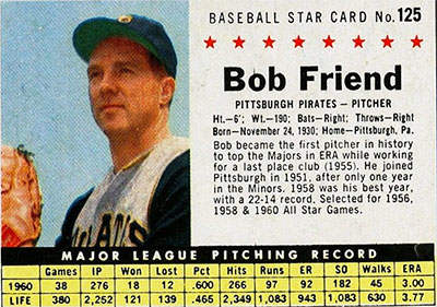 Bob Friend Baseball Card