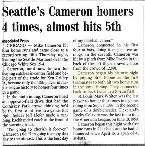 Bret Boone Homers Twice in Same Inning