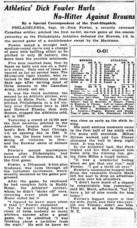 Dick Fowler No-Hitter Box Score