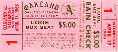 Oakland Athletics, 1st Home Game Ticket Stub