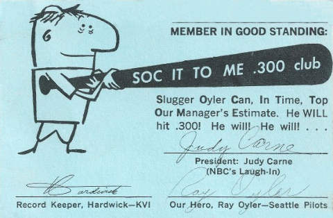 Ray Oyler Fan Club Card