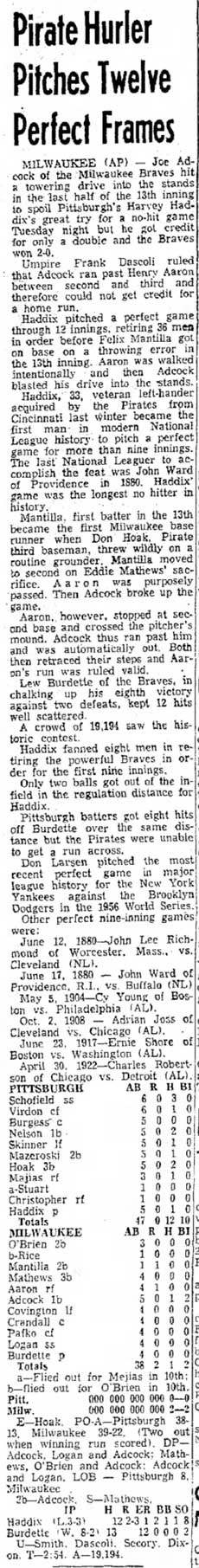 Harvey Haddix, Perfect Game