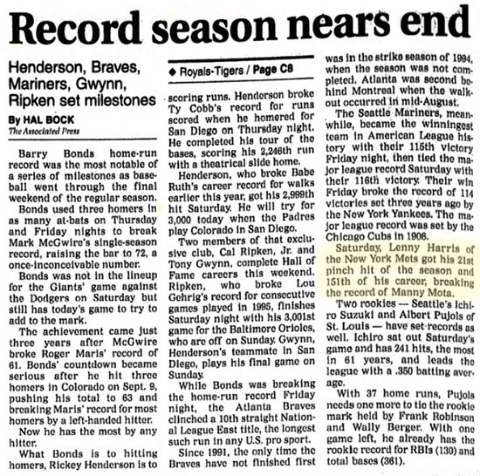 Lenny Harris Sets Record