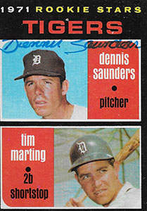 Dennis Saunders Autograph on a 1971 Topps Baseball Card (#423)