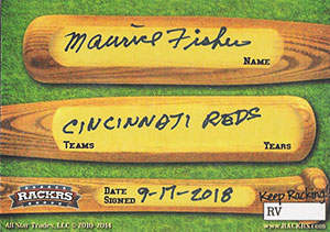 Maurice Fisher Autograph on a 2014 RACKRS Baseball Card