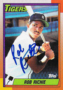 Rob Richie Autograph on a 1990 Topps Baseball Card (#146)