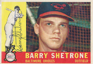 Barry Shetrone Autograph on a 1960 Topps Baseball Card  (#348 | <a href='../baseball_cards/baseball_cards_oneset.php?s=1960top01' title='1960 Topps Baseball Card Checklist'>Checklist</a>)