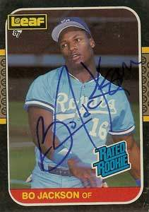 Bo Jackson Autograph on a 1987 Leaf (#35)