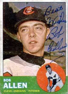 Bob Allen Autograph on a 1963 Topps Baseball Card (#266 | <a href='../baseball_cards/baseball_cards_oneset.php?s=1963top01' title='1963 Topps Baseball Card Checklist'>Checklist</a>)