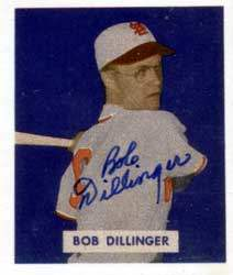 Bob Dillinger Autograph on a 1949 Bowman Reprint (#143)
