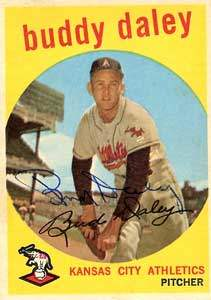 Bud Daley Autograph on a 1959 Topps Baseball Card (#263 | <a href='../baseball_cards/baseball_cards_oneset.php?s=1959top01' title='1959 Topps Baseball Card Checklist'>Checklist</a>)