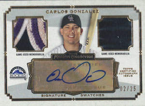Carlos Gonzalez Autograph on a 2013 Topps Signature Swatches Baseball Card (#SSADR-CG)