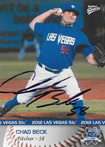 Chad Beck Autograph on a 2012 MultiAd Sports Baseball Card (#1)