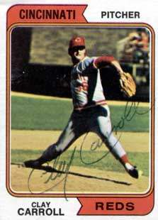 Clay 'Hawk' Carroll Autograph on a 1974 Topps Baseball Card (#111 | <a href='../baseball_cards/baseball_cards_oneset.php?s=1974top01' title='1974 Topps Baseball Card Checklist'>Checklist</a>)