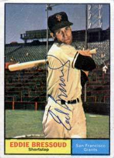 Eddie Bressoud Autograph on a 1961 Topps Baseball Card (#203 | <a href='../baseball_cards/baseball_cards_oneset.php?s=1961top01' title='1961 Topps Baseball Card Checklist'>Checklist</a>)