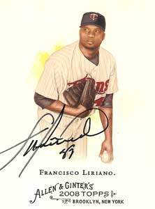 Francisco Liriano Autograph on a 2008 Allen & Ginter's (#345)