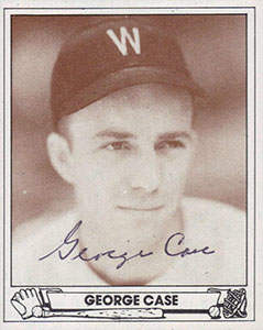 George Case Autograph on a 1939 Play Ball Reprint