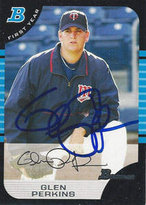 Glen Perkins Autograph on a 2005 Bowman (#170)