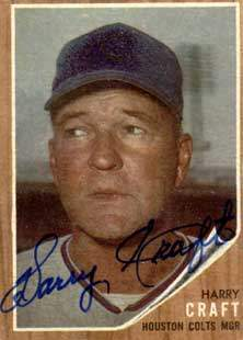 Harry Craft Autograph on a 1962 Topps Baseball Card (#12 | <a href='../baseball_cards/baseball_cards_oneset.php?s=1962top01' title='1962 Topps Baseball Card Checklist'>Checklist</a>)