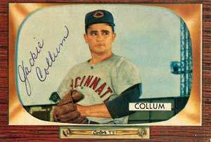Jackie Collum Autograph on a 1955 Bowman Baseball Card (#189)