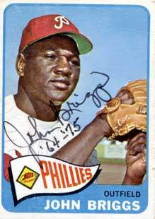 Johnny Briggs Autograph on a 1965 Topps (#163)