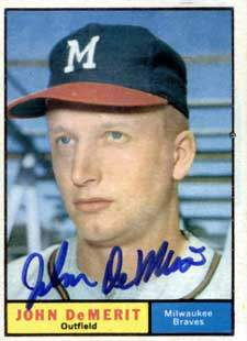 John DeMerit Autograph on a 1961 Topps Baseball Card (#501 | <a href='../baseball_cards/baseball_cards_oneset.php?s=1961top01' title='1961 Topps Baseball Card Checklist'>Checklist</a>)