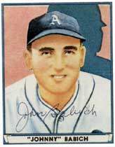 Johnny Babich Autograph on a Playball Reprint (#40)