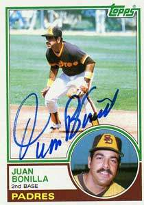 Juan Bonilla Autograph on a 1983 Topps Baseball Card (#563 | <a href='../baseball_cards/baseball_cards_oneset.php?s=1983top03' title='1983 Topps Baseball Card Checklist'>Checklist</a>)