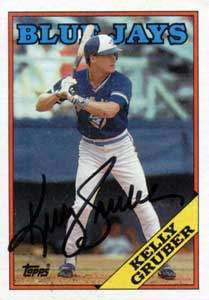 Kelly Gruber Autograph on a 1988 Topps Baseball Card (#113 | <a href='../baseball_cards/baseball_cards_oneset.php?s=1988top08' title='1988 Topps Baseball Card Checklist'>Checklist</a>)