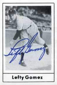 Lefty Gomez Autograph on a 1978 Grand Slam Baseball Card (#151)