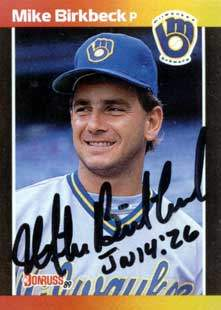 Mike Birkbeck Autograph on a 1989 Donruss Baseball Card (#501 | <a href='../baseball_cards/baseball_cards_oneset.php?s=1989don01' title='1989 Donruss Baseball Card Checklist'>Checklist</a>)