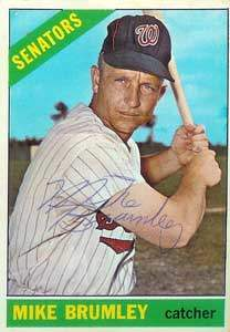 Mike Brumley Autograph on a 1966 Topps Baseball Card (#29 | <a href='../baseball_cards/baseball_cards_oneset.php?s=1966top01' title='1966 Topps Baseball Card Checklist'>Checklist</a>)