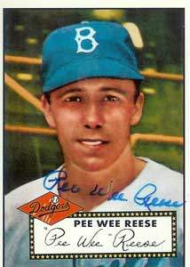 Pee Wee Reese Autograph on a 1995 Topps Dodger Archive Baseball Card (#333)