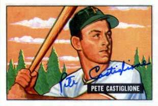 Pete Castiglione Autograph on a 1951 Picture Card Reprint (#17)