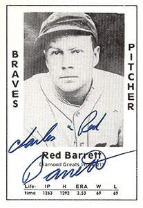 Red Barrett Autograph on a 1979 Diamond Greats (#213)