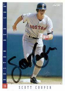 Scott Cooper Autograph on a 1993 Score Baseball Card (#198)