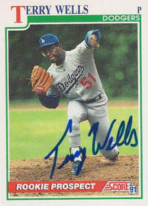Terry Wells Autograph on a 1991 Score (#359)
