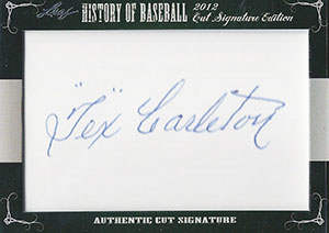 Tex Carleton Autograph on a 2013 Leaf History of Baseball Cut Signature Edition