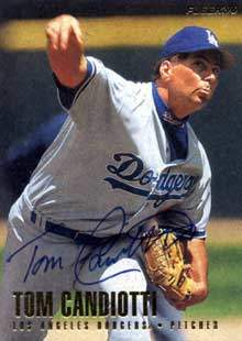 Tom Candiotti Autograph on a 1996 Fleer (#428)