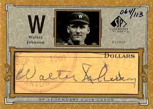 Walter Johnson Autograph on a 2001 Upper Deck SP (#C-WJ)