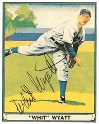 Whit Wyatt Autograph on a 1949 Playball Reprint (#55)