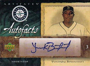 Yuniesky Betancourt Autograph on a 2007 Upper Deck Artifacts (#355)