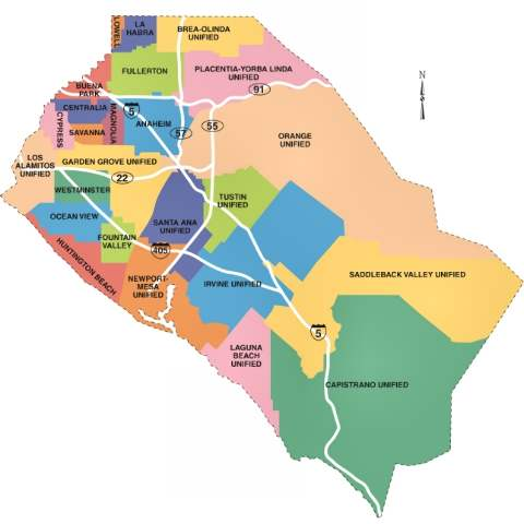 Map of Orange County school districts