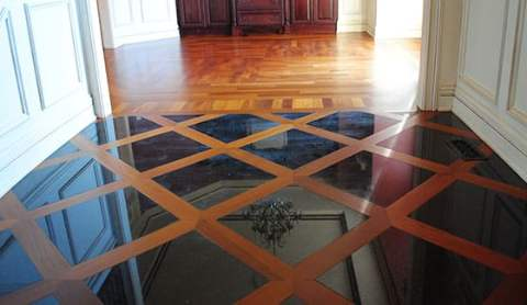 Tile and wood floor border