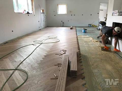 Herringbone Floor Being Installed