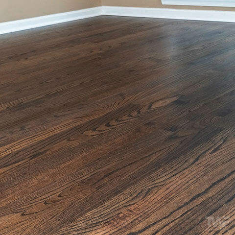 Stained hardwood flooring