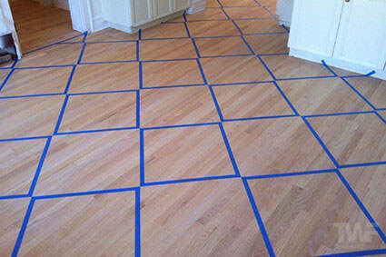 Setting up to apply Rubio Monocoat in diamond pattern