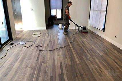 Applying Rubio Monocoat to red oak flooring in Naperville