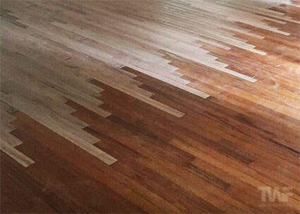 Lacing in new wood to an existing floor
